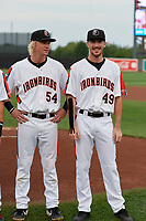 Aberdeen IronBirds Kyle Stowers (54) and Ryan Conroy (49) during pregame ceremonies before a NY-Penn League game against the Vermont Lake Monsters on August 19, 2019 at Leidos Field at Ripken Stadium in Aberdeen, Maryland.  Aberdeen defeated Vermont 6-2.  (Mike Janes/Four Seam Images)