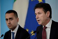 Rom, 20 Ottobre 2018<br /> Luigi Di Maio, Giuseppe Conte.<br /> Palazzo Chigi<br /> Conferenza stampa al termine del Consiglio dei ministri sul Def