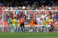 Lewis Macleod scores Brentford's fifth goal during Brentford vs Rotherham United, Sky Bet EFL Championship Football at Griffin Park on 4th August 2018