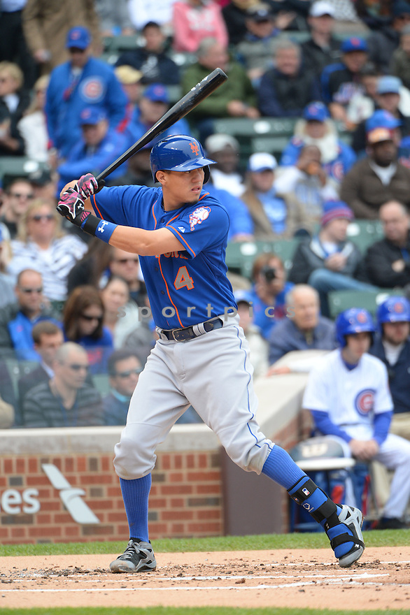 New York Mets Wilmer Flores (4) during a game against the Chicago Cubs on May 14, 2015 at Wrigley Field in Chicago, IL. The Cubs beat the Mets 6-5.