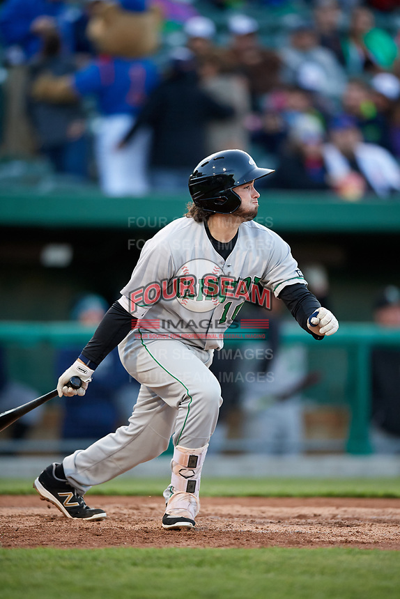 Clinton LumberKings third baseman Joe Rizzo (10) follows through on a swing during a game against the South Bend Cubs on May 5, 2017 at Four Winds Field in South Bend, Indiana.  South Bend defeated Clinton 7-6 in nineteen innings.  (Mike Janes/Four Seam Images)