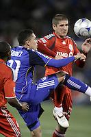 Herculez Gomez (left) battles against Carl Robinson (right). Toronto FC defeated Kansas City Wizards 3-2 at Community America Ballpark, Kansas City, Kansas on March 21, 2009.