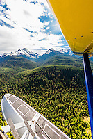 Flying by float plane from Juneau to Pack Creek Bear Sanctuary on Admiralty Island, southeast Alaska USA.