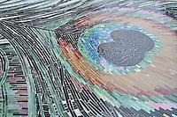 Jewel Glass Peacock panel detail.