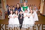 The pupils from S.N. Cillín Liath who made their first Holy Communion in Our Lady of The Valley Church, Dromid on Saturday pictured here front l-r; Sophia Nic Gearailt, Corinna Ní Shúilleabháin, Cillian Ó Sé, Rebecca Ní Shúilleabháin, Lorna Ní Shé, back l-r; Donagh Ó Shúilleabháin, Pádraig Ó Conchubhair, Miss Elaine Joy(Teacher), Fr John Kerin PP, Cathal Ó Shúilleabháin agus Isabella Ní Churráin.
