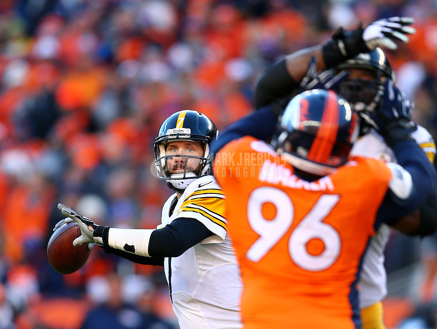 Jan 17, 2016; Denver, CO, USA; Pittsburgh Steelers quarterback Ben Roethlisberger (7) against the Denver Broncos during the AFC Divisional round playoff game at Sports Authority Field at Mile High. Mandatory Credit: Mark J. Rebilas-USA TODAY Sports