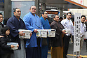 (L to R) Aminishiki, Baruto, unknown, Toyonoshima, MARCH 24, 2011 - Sumo collecting money for the victims of the 2011 Tohoku-Kanto Earthquake and Tsunami Natural Disaster in front of shibuya station, Tokyo, Japan. (Photo by YUTAKA/AFLO SPORT) [1040].