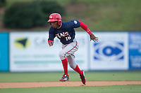 Victor Robles (16) of the Hagerstown Suns hustles towards third base against the Kannapolis Intimidators at Kannapolis Intimidators Stadium on May 5, 2016 in Kannapolis, North Carolina.  The Suns defeated the Intimidators 7-0.  (Brian Westerholt/Four Seam Images)