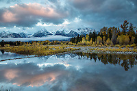 Autumn reflection, Shwabacker Landing, Grand Tetons, Grand Teton National Park