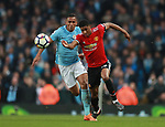 Danilo of Manchester City fouls Marcus Rashford of Manchester United during the premier league match at the Etihad Stadium, Manchester. Picture date 7th April 2018. Picture credit should read: Simon Bellis/Sportimage