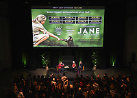 """HOLLYWOOD, CA - APRIL 7:   Pete Hammond, Jane Goodall and director Brett Morgen at the Screening of National Geographic's """"Jane"""" at NeueHouse LA on April 7, 2018 in Hollywood, California. (Photo by Frank Micelotta/NatGeo/PictureGroup)"""