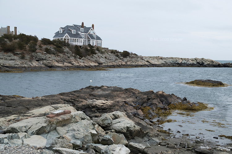 A large house is visible from Ocean Drive in Newport, Rhode Island, on Wed., April 19, 2017.