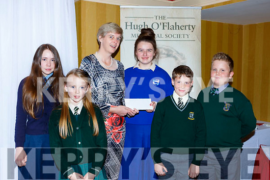Killarney school children presents Sr Orlaith Tracey the Monsignor Hugh O'Flaherty humanitarian award bursary  in the Killarney Avenue Hotel on Saturday night  Laura Looney, Amy Healy, Danielle Fleming, Oliver Pilch and Naomi Moore