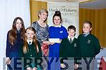 Killarney school children presents Sr Orlaith Tracey the Monsignor Hugh O'Flaherty humanitarian award bursary  in the Killarney Avenue Hotel on Saturday night  Laura Looney, Amy Healy, Danielle Fleming, Oliver Pilch and Naomi Moore