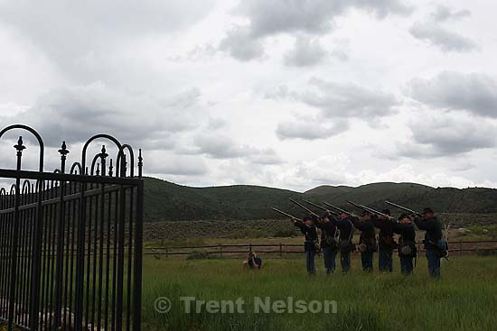 Mountain Meadows - Kent Dunlap leads an honor guard made up of descendants of the Mountain Meadows Massacre survivors, firing a 21 gun salute during a commemoration at the site, Saturday May 30, 2009. chris onstott