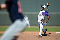 Winston-Salem Dash relief pitcher Euclides Leyer (6) in action against the Salem Red Sox at BB&T Ballpark on April 17, 2016 in Winston-Salem, North Carolina.  The Red Sox defeated the Dash 3-1.  (Brian Westerholt/Four Seam Images)