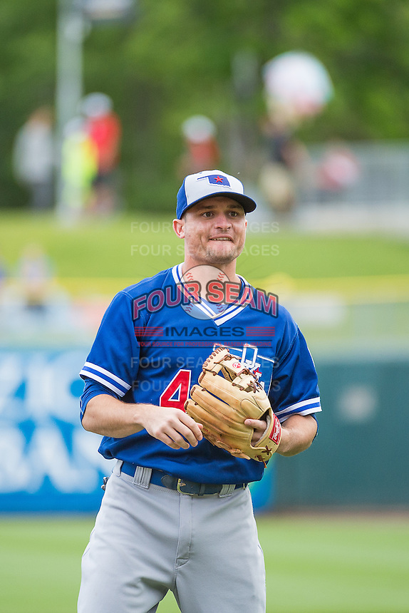 Buck Britton (4) of the Oklahoma City Dodgers during the game against the Salt Lake Bees in Pacific Coast League action at Smith's Ballpark on May 25, 2015 in Salt Lake City, Utah.  (Stephen Smith/Four Seam Images)