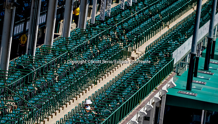 September 5, 2020: A lone observer connected with an ownership group watches the races on Kentucky Derby Day at Churchill Downs in Louisville, Kentucky. The race is being run without fans due to the coronavirus pandemic that has gripped the world and nation for much of the year, with only essential personnel, media and ownership connections allowed to attend. Scott Serio/Eclipse Sportswire/CSM
