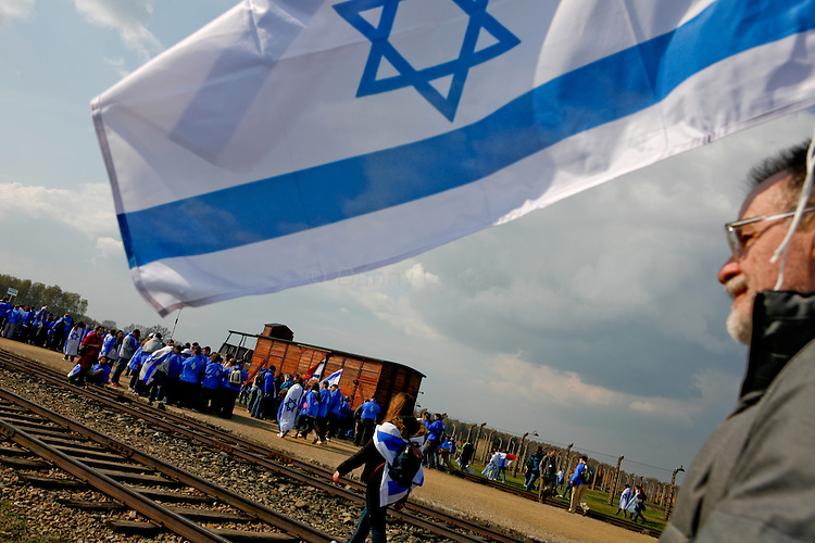 About 10,000 people, mainly young Jews, Marched Monday from Auschwitz to Birkenau during the annual March of the Living. They commemorated the approximate 1.1 million victims of the Nazi death camp. Many carried black ribbons in memory of Poland's President Lech Kaczynski who was killed in a plane crash Saturday along with 94 others en route to the site of a Soviet massacre of Polish officers during WWII.