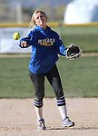 Western Nevada's Makaylee Jaussi makes a play against Salt Lake Community College at Edmonds Sports Complex in Carson City, Nev., on Friday, April 15, 2016. <br />Photo by Cathleen Allison