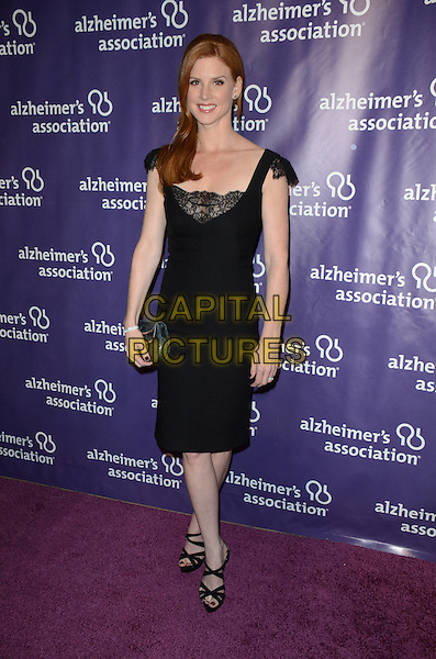 "Sarah Rafferty.21st Annual ""A Night At Sardi's"" Gala Benefiting The Alzheimer's Association Held At Beverly Hilton Hotel, Beverly Hills, California, USA, 20th March 2013..full length black lace dress strappy sandals clutch bag cap sleeve .CAP/ADM/KB.©Kevan Brooks/AdMedia/Capital Pictures."