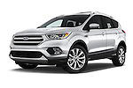 Stock pictures of low aggressive front three quarter view of 2017 Ford Escape Titanium 5 Door Suv Low Aggressive