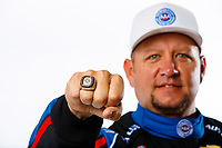 Feb 7, 2018; Pomona, CA, USA; Detailed view of the championship ring on the hand of NHRA funny car driver Robert Hight as he poses for a portrait during media day at Auto Club Raceway at Pomona. Mandatory Credit: Mark J. Rebilas-USA TODAY Sports