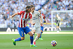 Real Madrid's Luka Modric and Atletico de Madrid's Filipe Luis during La Liga match between Real Madrid and Atletico de Madrid at Santiago Bernabeu Stadium in Madrid, April 08, 2017. Spain.<br /> (ALTERPHOTOS/BorjaB.Hojas)