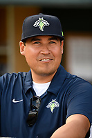 Coach Dave Williams of the Columbia Fireflies in a game against the Charleston RiverDogs on Saturday, April 6, 2019, at Segra Park in Columbia, South Carolina. Columbia won, 3-2. (Tom Priddy/Four Seam Images)