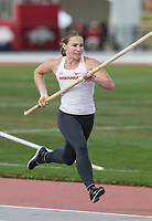 NWA Democrat-Gazette/BEN GOFF @NWABENGOFF<br /> Desiree Freier of Arkansas makes an attempt Friday, April 12, 2019, during the women's pole vault at the John McDonnell Invitational at John McDonnell field in Fayetteville. Freier placed second to teammate Victoria Hoggard in the event.