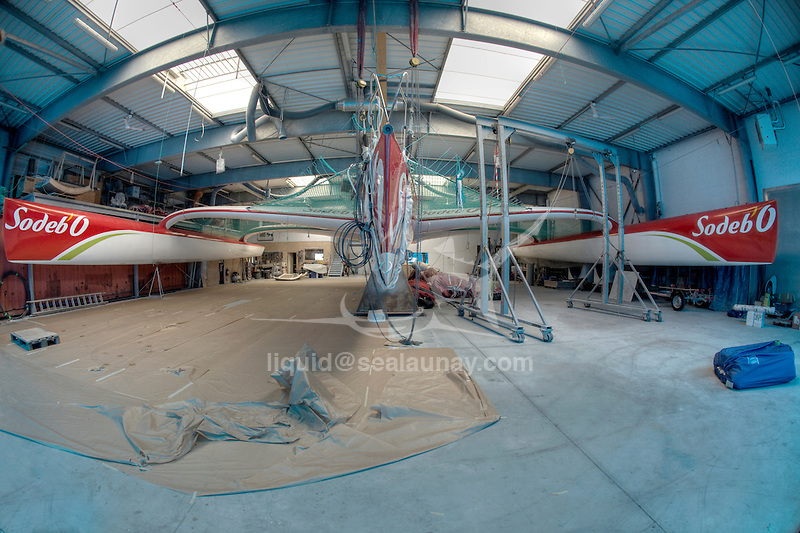 The ORMA  (Ocean Racing Multihulls Association) 60 feet multihull Sodebo in a shed in La Trinite-sur-Mer, Brittany, France.