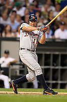 Detroit TIgers designated hitter Johnny Damon can't hold up a swing during a game vs. the Chicago White Sox at U.S. Cellular Field in Chicago, Illinois August 13, 2010.   Chicago defeated Detroit 8-4.  Photo By Mike Janes/Four Seam Images