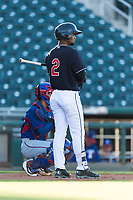 AZL Indians 1 second baseman Wilbis Santiago (2) at bat during an Arizona League playoff game against the AZL Rangers at Goodyear Ballpark on August 28, 2018 in Goodyear, Arizona. The AZL Rangers defeated the AZL Indians 1 7-4. (Zachary Lucy/Four Seam Images)