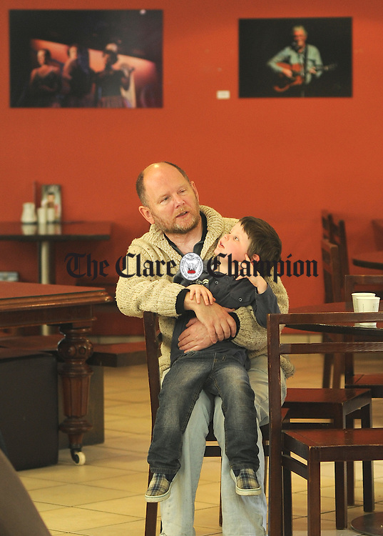 Martin Vernon with his grandson, Dylan Murray, during the launch of this year's Embrace Exhibition at Glór in Ennis, taking place as part of the Clare Arts Office programme for people with disabilities in Clare. Photograph by Declan Monaghan