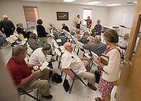 NWA Democrat-Gazette/J.T. WAMPLER -The congregation of the Fellowship Bible Church of Springdale visits before Sunday school Sunday June 7, 2015. The church celebrates its 50th anniversary this month.