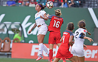 Portland, OR - Wednesday June 28, 2017: Sydney Leroux, Emily Sonnett during a regular season National Women's Soccer League (NWSL) match between the Portland Thorns FC and FC Kansas City at Providence Park.