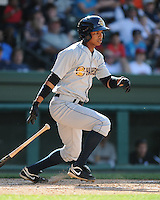 Outfielder Eduardo Sosa (2) of the Charleston RiverDogs, Class A affiliate of the New York Yankees, in a game against the Greenville Drive on May 15, 2011, at Fluor Field at the West End in Greenville, S.C. Photo by Tom Priddy / Four Seam Images