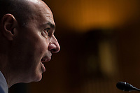 """United States Secretary of Labor Eugene Scalia during a Senate Finance Committee hearing on """"COVID-19/US Unemployment Insurance"""" on Capitol Hill in Washington on Tuesday, June 9, 2020.<br /> Credit: Caroline Brehman / Pool via CNP/AdMedia"""