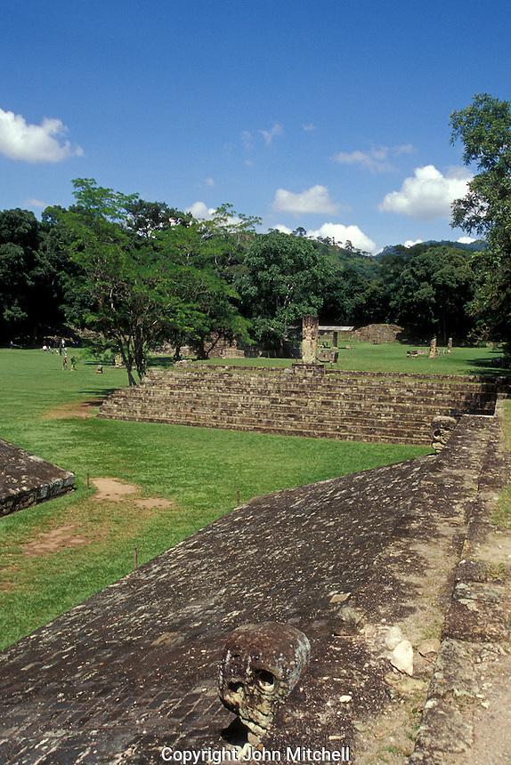Maya ball court at the ruins of Copan, Honduras