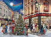 Interlitho,Simonetta,CHRISTMAS SANTA, SNOWMAN, WEIHNACHTSMÄNNER, SCHNEEMÄNNER, PAPÁ NOEL, MUÑECOS DE NIEVE, paintings+++++,KL6117V,#x#,puzzle,santa,sledge
