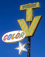 Old TV sign in Tucson, Arizona.