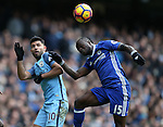Sergio Aguero of Manchester City and Victor Moses of Chelsea during the Premier League match at the Etihad Stadium, Manchester. Picture date: December 3rd, 2016. Pic Simon Bellis/Sportimage