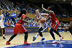 DURHAM, NC - NOVEMBER 30: Duke's Rebecca Greenwell (23) is defended by Ohio State's Linnae Harper (left) and Sierra Calhoun (4). The Duke University Blue Devils hosted the Ohio State Buckeyes on November 30, 2017 at Cameron Indoor Stadium in Durham, NC in a Division I women's college basketball game, and as part of the annual ACC-Big Ten Challenge. Duke won the game 69-60.