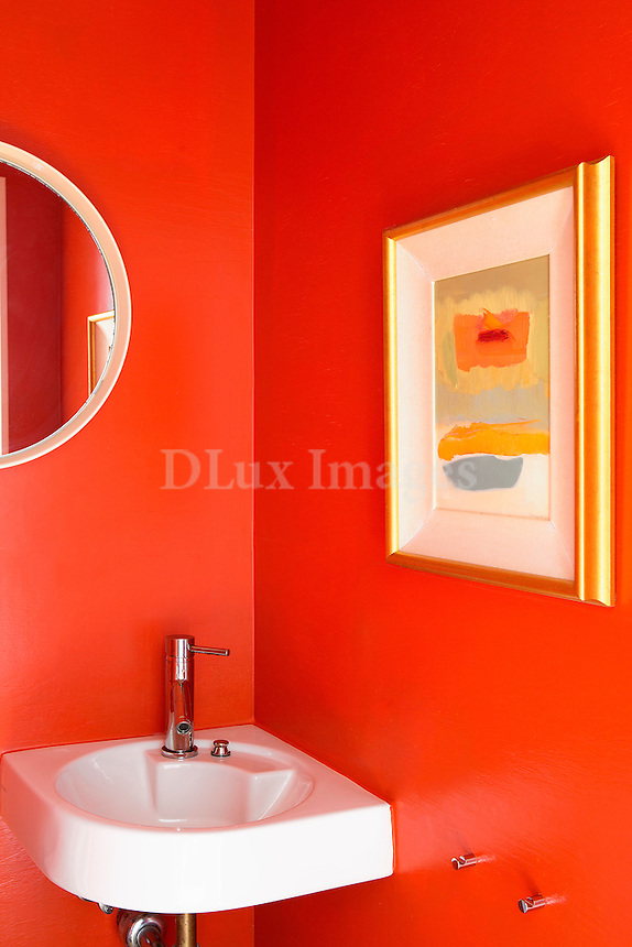 red wall in the bathroom