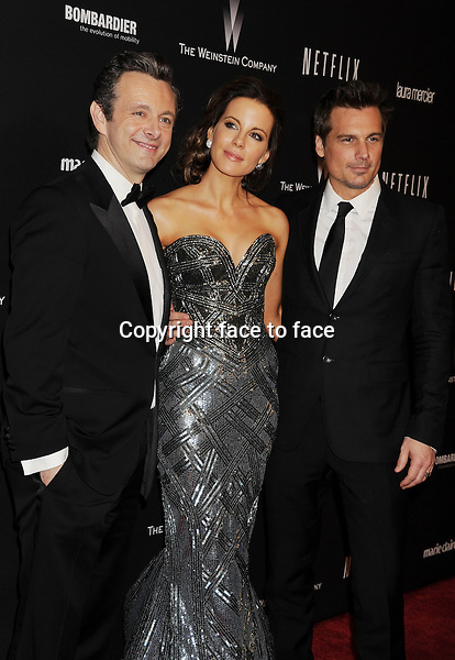 BEVERLY HILLS, CA- JANUARY 12: (L-R) Actor Michael Sheen, actress Kate Beckinsale and her husband director Len Wiseman attend The Weinstein Company &amp; Netflix 2014 Golden Globes After Party held at The Beverly Hilton Hotel on January 12, 2014 in Beverly Hills, California.<br /> Credit: Mayer/face to face<br /> - No Rights for USA, Canada and France -