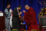 May 7, 2013  (College Park, Maryland)  His Holiness the 14th Dalai Lama, Tenzin Gyatso, greets University of Maryland President, Wallace Loh (left). The Dalai Lama was the guest speaker at the Anwar Sadat Lecture for Peace at the University of Maryland Comcast Center, May 7, 2013.  (Photo by Don Baxter/Media Images International)