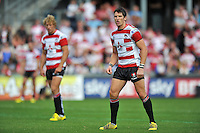James Hook of Gloucester Rugby looks on. West Country Challenge Cup match, between Gloucester Rugby and Bath Rugby on September 13, 2015 at the Memorial Stadium in Bristol, England. Photo by: Patrick Khachfe / Onside Images
