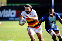 Waikato's Jordan Bunce in action against Tasman during the men's cup final. Day two of the 2018 Bayleys National Sevens at Rotorua International Stadium in Rotorua, New Zealand on Sunday, 14 January 2018. Photo: Dave Lintott / lintottphoto.co.nz