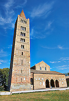 11th cetury Romanesque campinal, one of the finest left standing, of the Church of Santa Maria, Benedictine Abbey of Pomposa, Emilia-Romagna, Italy.