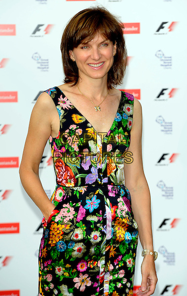 FIONA BRUCE .attending The F1 Party  held at the Natural History Museum, .London, England, UK, 5th July 2010..half length black multi-coloured print floral dress hand in pocket pink green Formula one .CAP/CJ.©Chris Joseph/Capital Pictures.